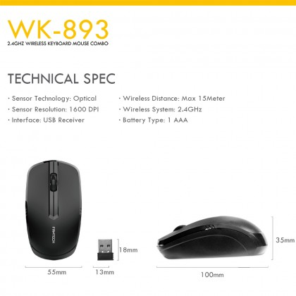 FANTECH WK-893 New Office Wireless Keyboard Mouse and Free MP25 -Value Combo Set
